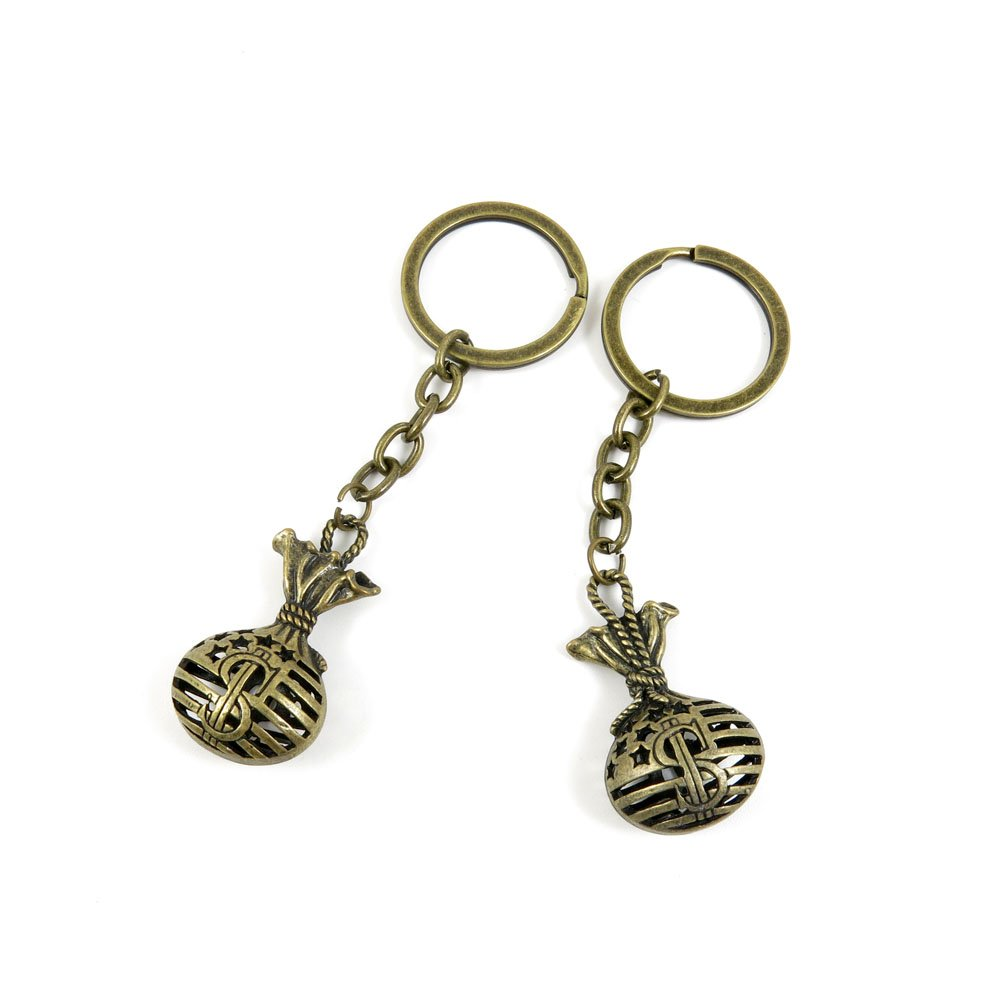 100 PCS Keyrings Keychains Key Ring Chains Tags Jewelry Findings Clasps Buckles Supplies V7UK4 Dollar Bag Sack