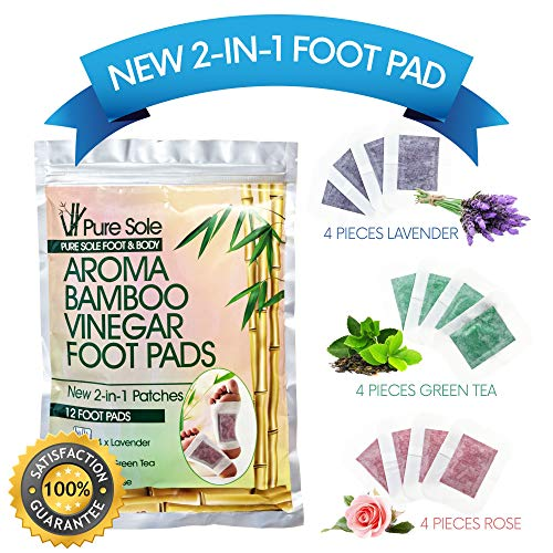 12, 36 & 60 Pack | 2-in-1 Aroma Bamboo Vinegar Foot Pads by Pure Sole Foot & Body | Apply & Sleep For Best Relief & Results | Lavender, Green Tea & Rose
