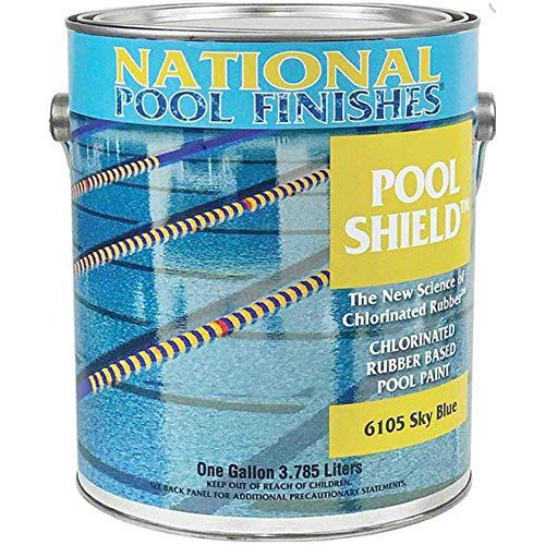 - National Pool Finishes Pool Shield - Commercial Chlorinated Rubber Pool Paint - Semi-Gloss Finish - 1 Gallon (#6105G Sky Blue)