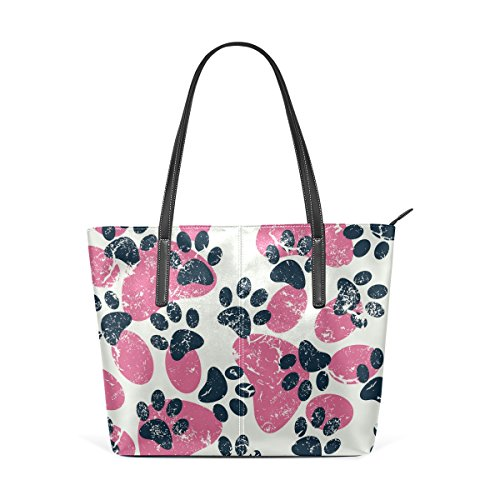Dog Pink Women's Fashion Paws Cat Handle Top Black Handbag Leather TIZORAX Totes PU Footprints Shoulder Purses Bags z5wtYq