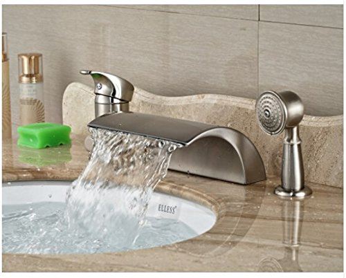 Gowe Luxury Nickel Brushed Bathroom Deck Mounted Waterfall Basin Faucet Sink Mixer Tap With Hand Shower 2