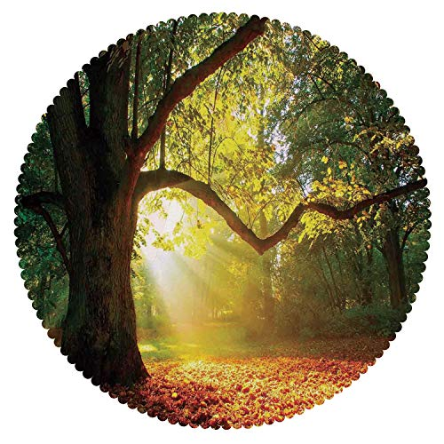 iPrint Decorative Round Tablecloth [ Leaves,Majestic Mighty Oak Tree with Largely Broader Leaves Forest Sun Rays Nature,Orange Green Brown ] Tablecloth ()