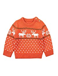 Theshy Infant Baby Boys Girl Long Sleeve Cartoon Christmas Knitted Top Sweater