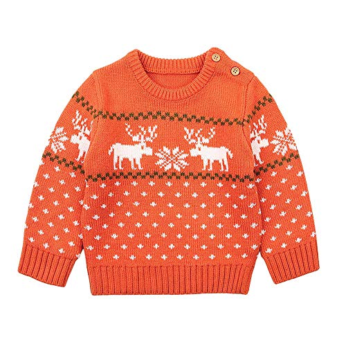 Cardigan Baby Snowflake (Gallity Boys Girls Kid Baby Deer Snowflake Print Sweater Knit Outerwear Christmas Clothes (24M, Orange))