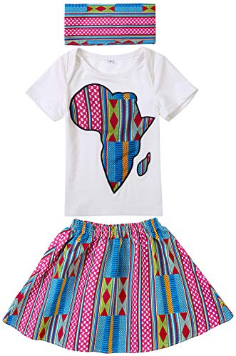 Shenbolen Baby Girl African Print Clothing Ankara Skirt Top Set(B,Small)