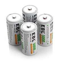 EBL C Cell Rechargeable Batteries 4 Pack 5000mAh 1.2V Ni-Mh C Size 1200 Cycle (Battery Case Included)