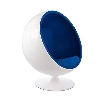 Vertigo Interiors Aarnio Inspired Mid Century Modern Ball Globe Swivelling  Lounge Reading Chair (Blue)