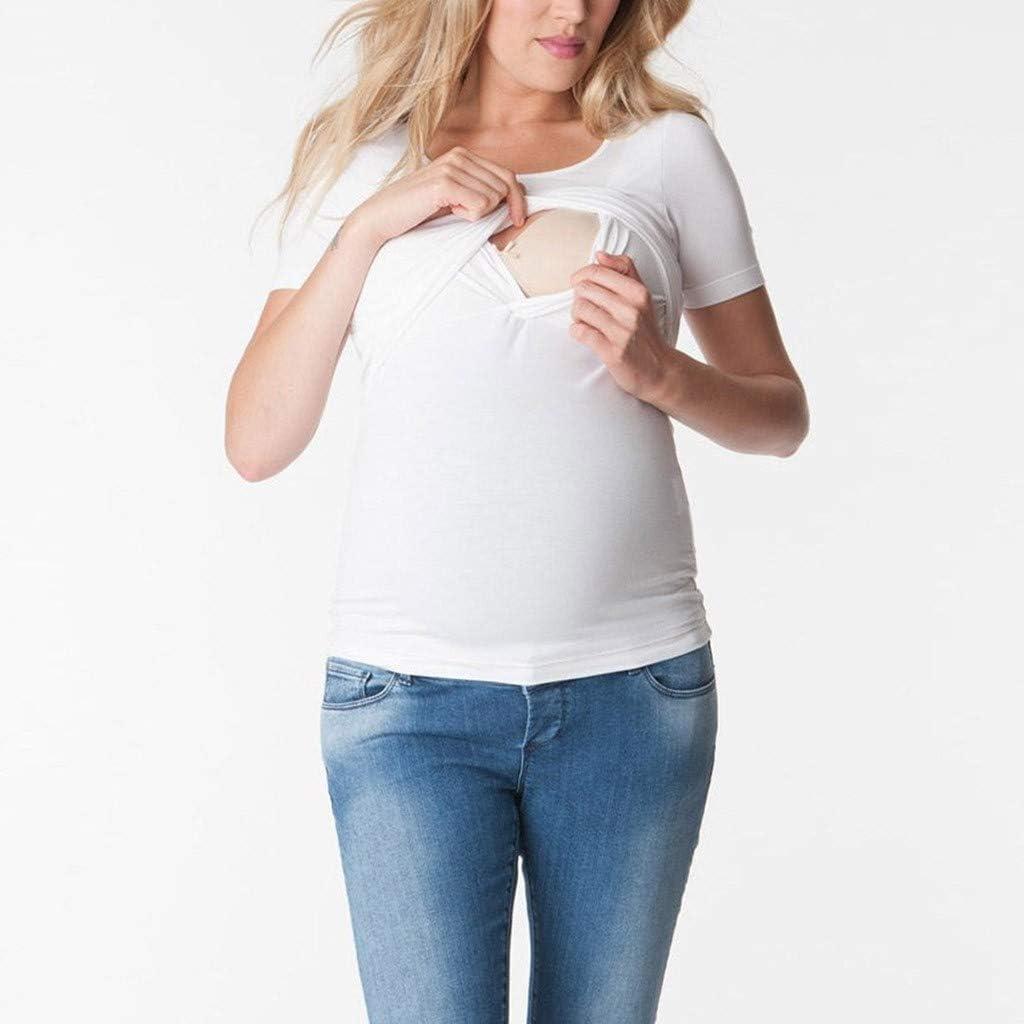 FRAUIT Maglia Allattamento Maglietta 2 in 1 per Allattamento Doppio Strato pr/émaman T Shirt maternit/à Tinta Unita