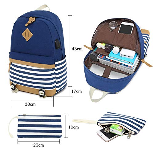 Bag Women Travel Daypack Laptop Backpack Stripe Thickened Blue Shoulder Canvas for Backpack Blue Cute School Handbag Girls Canvas Causal xRFqZvn