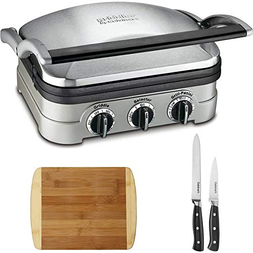 Cuisinart GR-4N Multifunctional Griddle, Grill and Panini Press with Triple Rivet Collection 2-Piece Knife Set and Two-Tone Bamboo Cutting Board