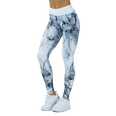 Pantalon de Yoga Pour Femme, Vovotrade Femmes Sports Gym Yoga Entraînement Mid Taille Pantalons De Course Fitness Leggings Élastique (Bleu, Taille: M)