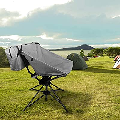 Zenree Outdoor Folding Swivel Chairs - Portable 360 Rotating Mesh Chair for Office, Hunting/Camping/Fishing/BBQ/Beach with Carry Bag, Gray : Sports & Outdoors