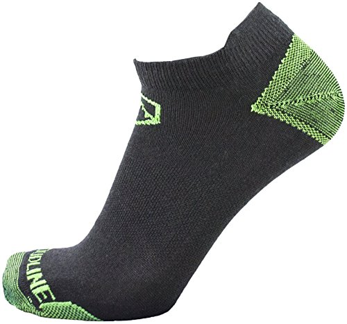 CloudLine Merino Wool No Show Athletic Tab Ankle Running Socks - Ultra Light - Large Neon Green - for Men & ()