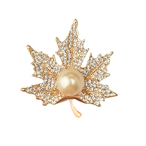 CHUYUN Graceful Pearl Maple Brooch Pin for Women Girls (gold) - Maple Leaf Pin Brooch