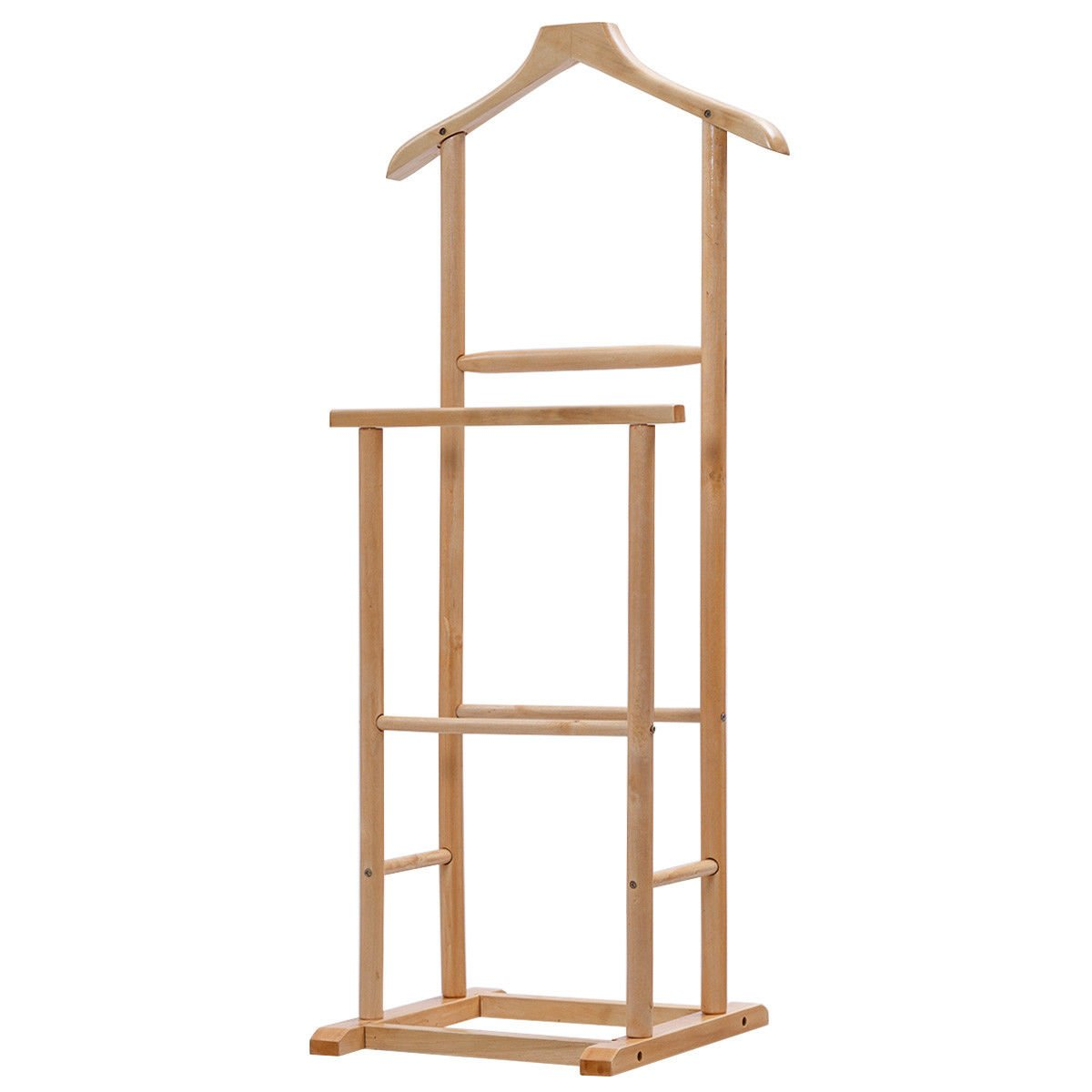 Globe House Products GHP Home 19.0'' Lx14.2 Wx42.2 H Lightweight and Durable Men Double Suit Shelf/Rack