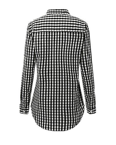 ZANZEA Damen Langarm Karierte V-Ausschnitt Lose Party Langshirt Oberteil T-Shirt Tops Schwarz-Weiß EU 34-36/Etikettgröße S