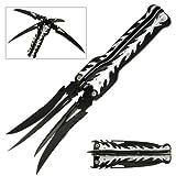BladesUSA MC-1025 Fantasy Quad Folding Knife, Four Partially Serrated Bladed, Black/Silver Aluminum Handle, 5-1/2-Inch Closed
