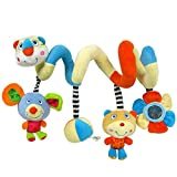 Labebe Baby Stroller Crib Baby Car Seat Pram Cot Spiral Hanging Activity Toys for Infant Toddler Newborn with Rattles & Stuffed Animals & Teether Showering Gift - Multicolor Bear