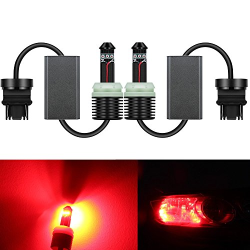 Alla Lighting Directly Plug & Play 1300 Lumens CAN-BUS Error Free 21W CREE Extremely Super Bright Pure Red 7440 7441 W21W 7440NA LED Bulbs for Turn Signal Blinker Light Lamps - Turn Rear Stay Signal