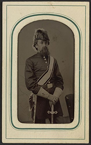Historic Photos 1860 Photo Unidentified Man in Masonic Regalia Including Gauntlets, Belt, sash, and Knights Templar hat with Sword/C. C. Giers, Nashville.
