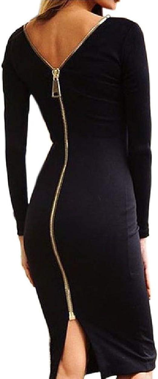 Long Zipper Back Dress