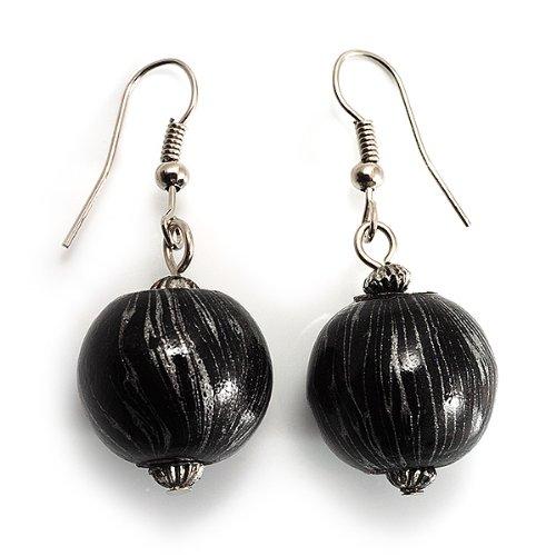 Boucles d'oreille pendant bois noir et argent métallique (ton argenté)