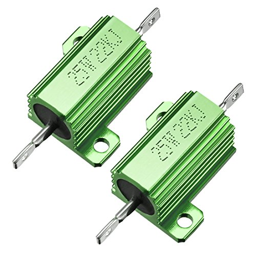 - uxcell 25W 22k Ohm 5% Aluminum Housing Resistor Screw Tap Chassis Mounted Aluminum Case Wirewound Resistor Load Resistors Green 2 pcs