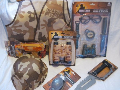Halloween Costume or Dress Up Beige Brown Desert Camo Camouflage Military Army Soldier Including Helmet,