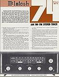 McIntosh MR 74 AM FM/FM Stereo Tuner sell sheet 1970s