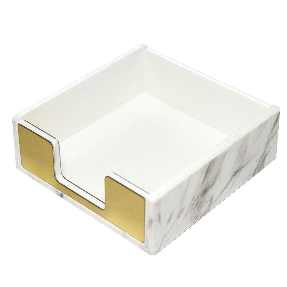 MultiBey Sticky Notes Pad Holder Memo Dispensers Rose Gold with Marble White Texture Desk Supplies Organizer Accessories (Gold) by MultiBey