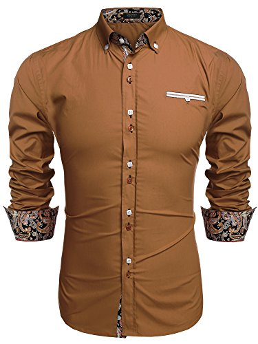 Coofandy Mens Fashion Slim Fit Dress Shirt Casual Shirt Brown X-Large, 01-brown, -