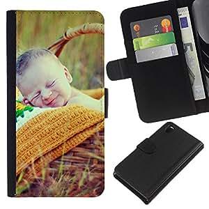 All Phone Most Case / Oferta Especial Cáscara Funda de cuero Monedero Cubierta de proteccion Caso / Wallet Case for Sony Xperia Z3 D6603 // Nature Cute Picnic Spring Mother