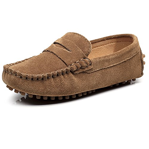 Dark Brown Kid Suede Footwear - Shenn Boys' Cute Slip-On Dark Brown Suede Leather Loafers Shoes S8884 US1.5