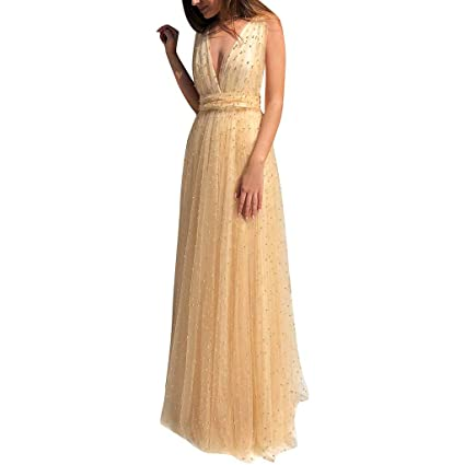 60% cheap rich and magnificent unequal in performance Amazon.com: Women Evening Gowns V-neck Backless Prom Dress ...
