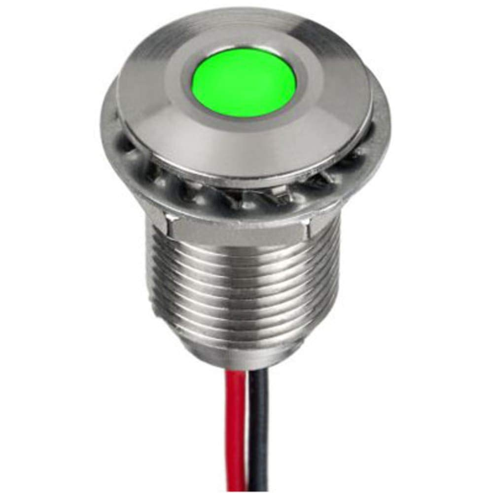 RS Pro; Green 5mm LED Flush Indicator; 10mm Hole; 316L SS; 12VDC; Wire Leads Pack of 2