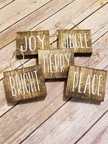 (Rae Dunn inspired christmas tree ornaments-set of 5-wood block ornaments-small sign ornaments-farmhouse)
