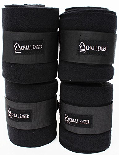 - CHALLENGER Horse Tack Grooming Leg Set of 4 Fleece Polo Wrap Black Equine Care Rodeo 95R13