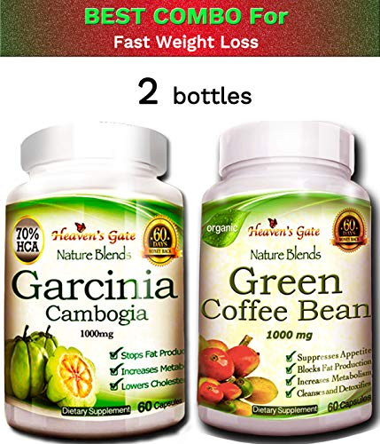 Best Combo for Quick Weight Loss - Garcinia Cambogia and Green Coffee Bean Extract - 1000 mg - 100% Pure - Organic - GMO and Gluten Free - 120 Capsules 1 Month Supply - Free Shipping