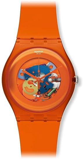 Swatch SUOO100 - Reloj analógico de Cuarzo Unisex con Correa de plástico, Color Naranja: Amazon.es: Relojes