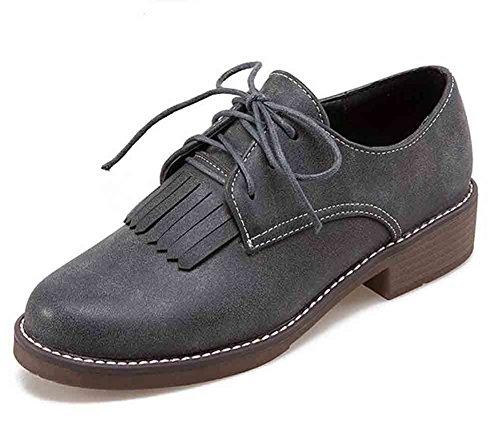Scarpe Da Donna Easemax Comode Frange Lace Up Tacco Basso Sneakers Basse A Tacco Basso Grigio