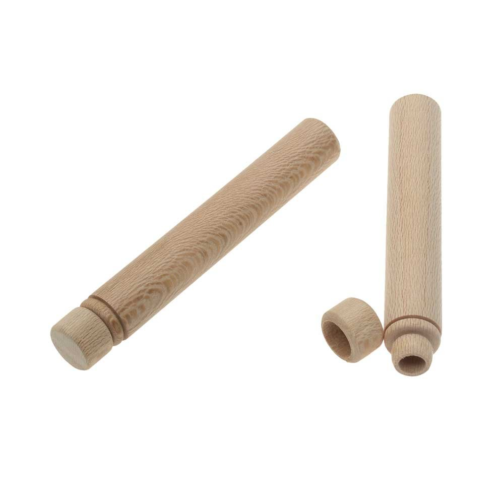 Beadsmith Wood Needle Case, Cylinder 3.5 x 0.55 Inches, 2 Pieces, Natural