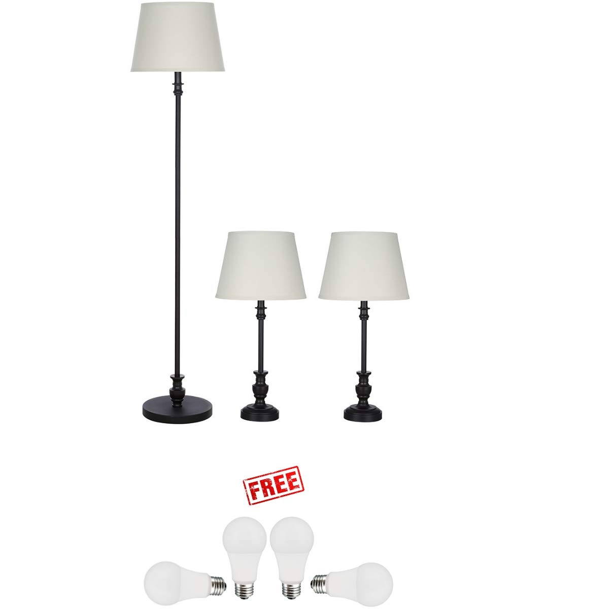 Better Homes & Gardens 3-Piece Lamp Set, Bronze Finish with Free