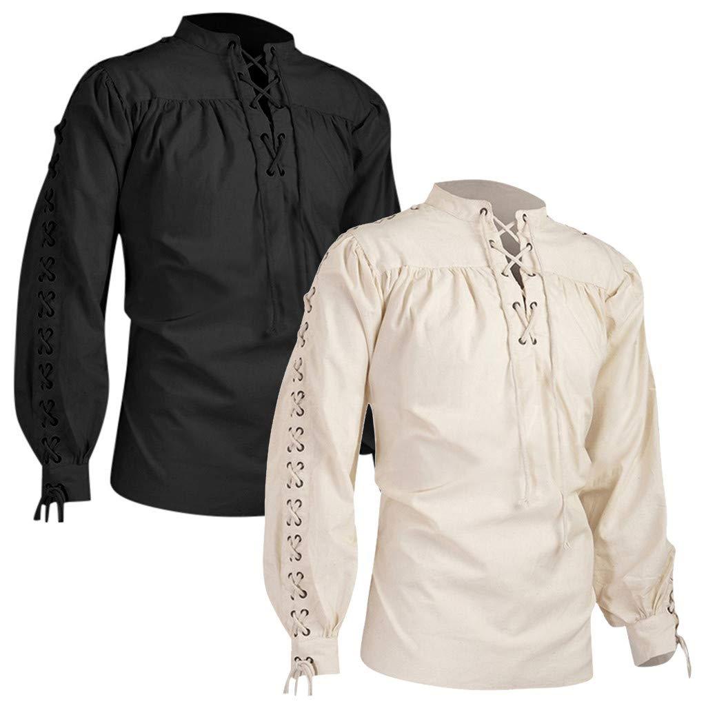 Camisa Volantes Cuello Mao Hombre Medieval, Sudadera Color sólido ...
