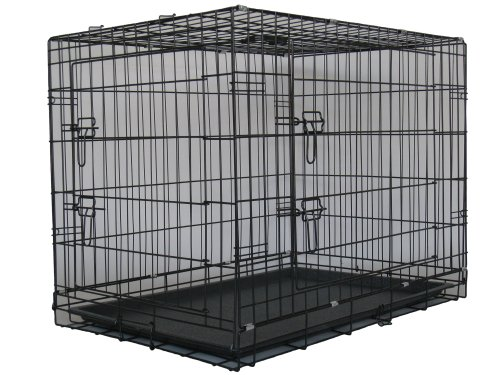 GoPetClub 36 Two Door Dog Pet Bed House Folding Metal Crate Cage Kennel