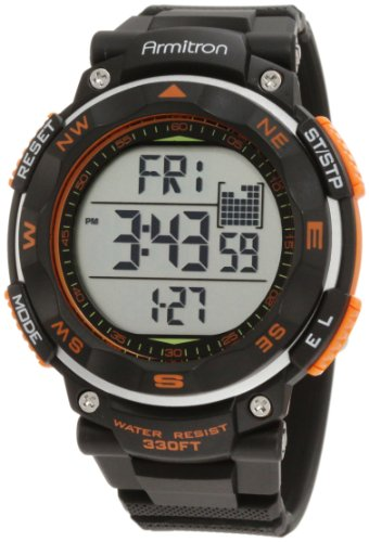 Armitron Sport Men's 40/8254ORG Black Strap Orange Accented