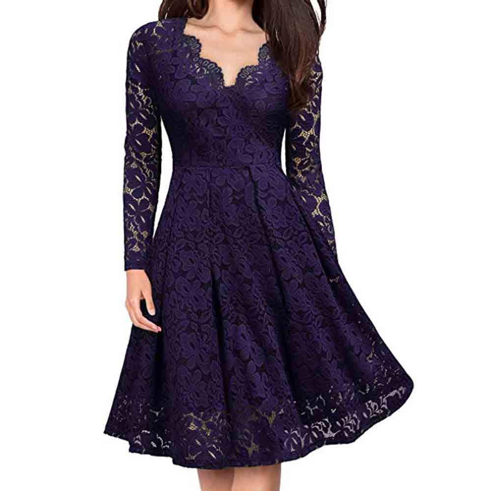 Women Vintage Formal Evening Party Dress Lace V-Neck Floral Off Shoulder Dress Loose Long Sleeve Dress (L, Purple)