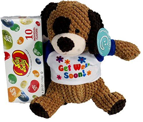 Get Well Gifts - Cuddly Get Well Puppy Dog Knobby Plush Gift Set with Jelly Belly Gift Box
