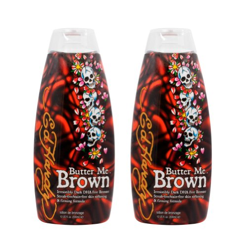 2 Ed Hardy Butter Me Brown Tanning DHA Streak Free Bronzing Cream Lotion 10 Oz