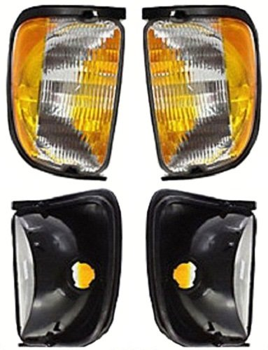 (Discount Starter and Alternator FO2521122 FO2520122 Replacement Corner Light Pair Fits Ford E-Series Plastic Lens Without Bulbs)