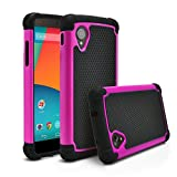 Nexus 5 Case, MagicMobile [Dual Armor Series] Hybrid Impact Resistant Nexus 5 Shockproof Tough Case (Rugged Hard Plastic) + (Rubber Silicone) Skin Protective Case for LG Nexus 5 - Black / Hot Pink